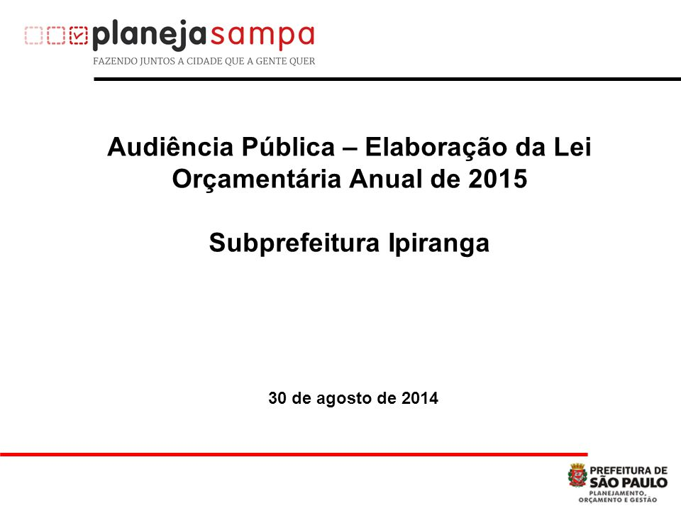 Audiência Pública – Elaboração da Lei Orçamentária Anual de 2015