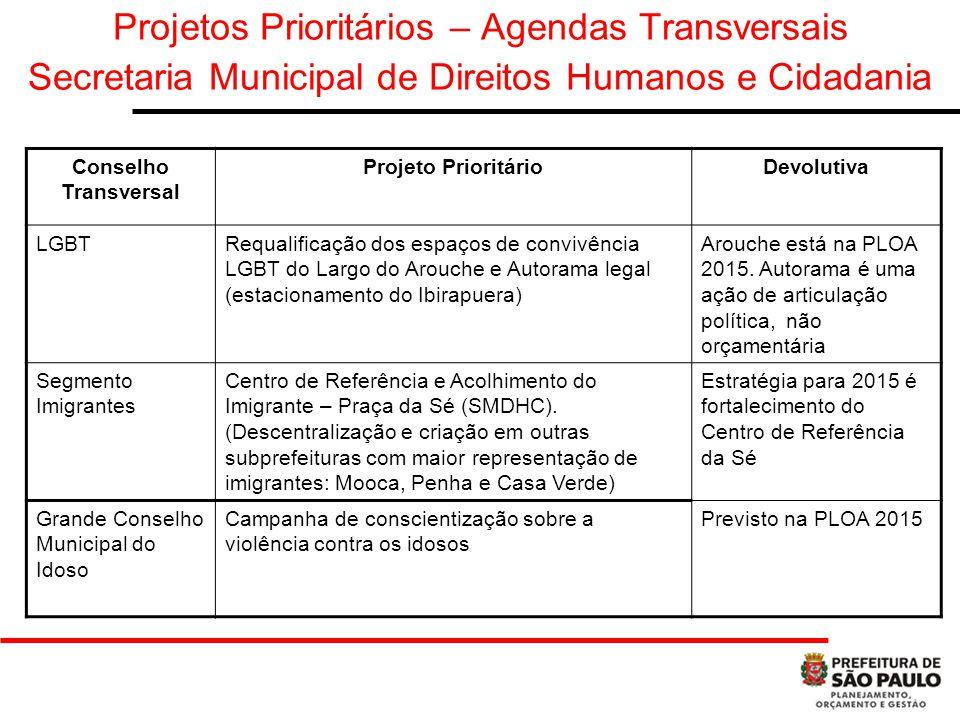 Projetos Prioritários – Agendas Transversais Secretaria Municipal de Direitos Humanos e Cidadania