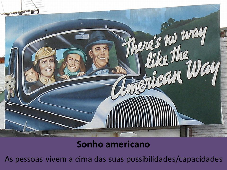 Sonho americano As pessoas vivem a cima das suas possibilidades/capacidades