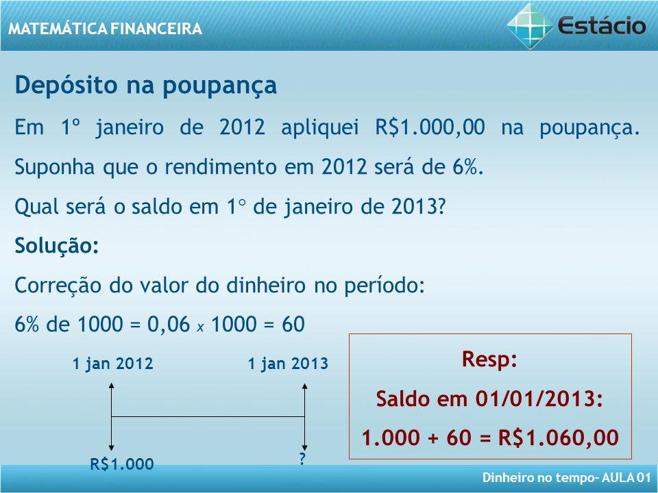 Depósito na poupança Em 1º janeiro de 2012 apliquei R$1.000,00 na poupança. Suponha que o rendimento em 2012 será de 6%.
