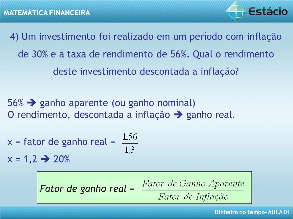 4) Um investimento foi realizado em um período com inflação de 30% e a taxa de rendimento de 56%. Qual o rendimento deste investimento descontada a inflação