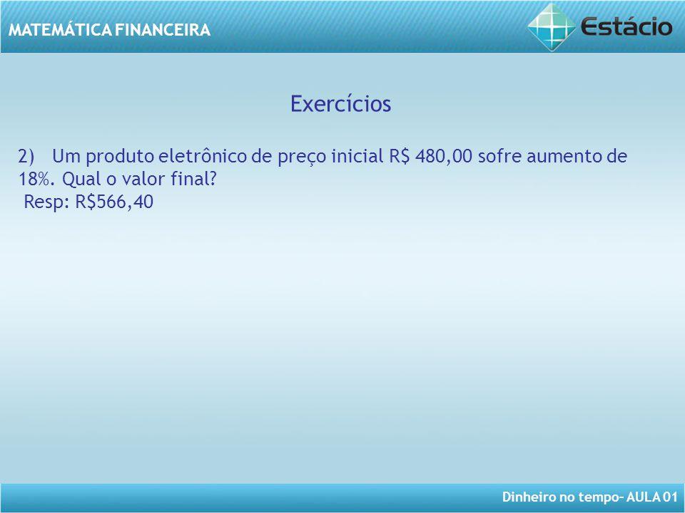 Exercícios 2) Um produto eletrônico de preço inicial R$ 480,00 sofre aumento de 18%. Qual o valor final