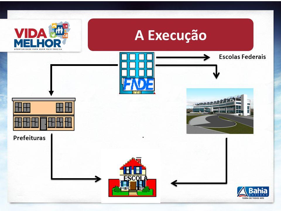 A Execução Escolas Federais . Prefeituras