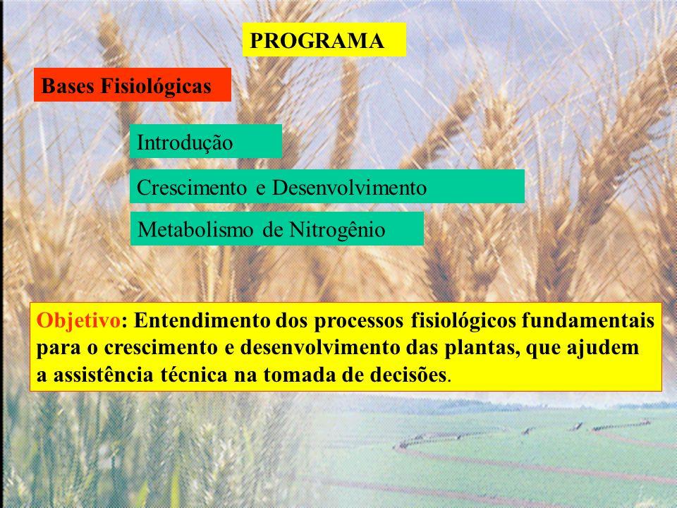 PROGRAMA Bases Fisiológicas. Introdução. Crescimento e Desenvolvimento. Metabolismo de Nitrogênio.