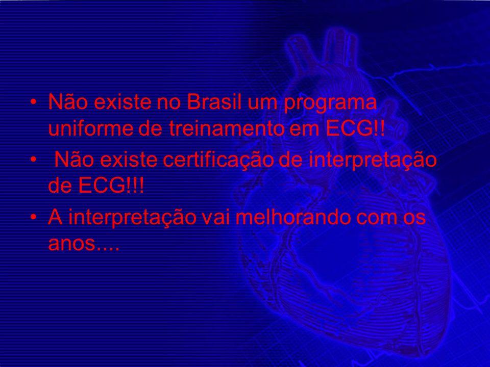 Não existe no Brasil um programa uniforme de treinamento em ECG!!