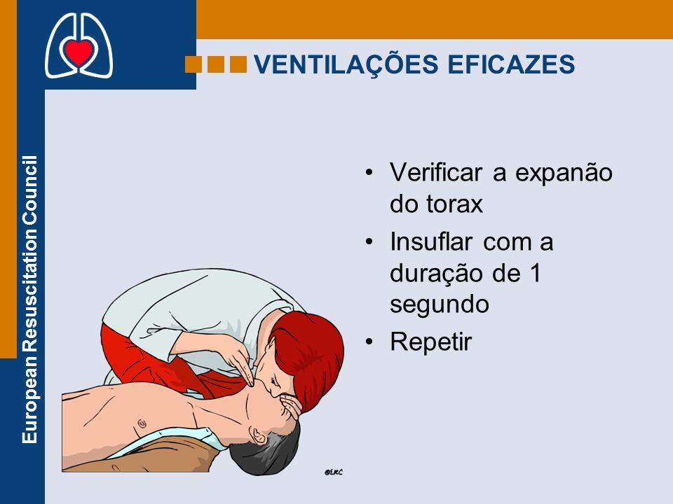 VENTILAÇÕES EFICAZES Verificar a expanão do torax Insuflar com a duração de 1 segundo Repetir