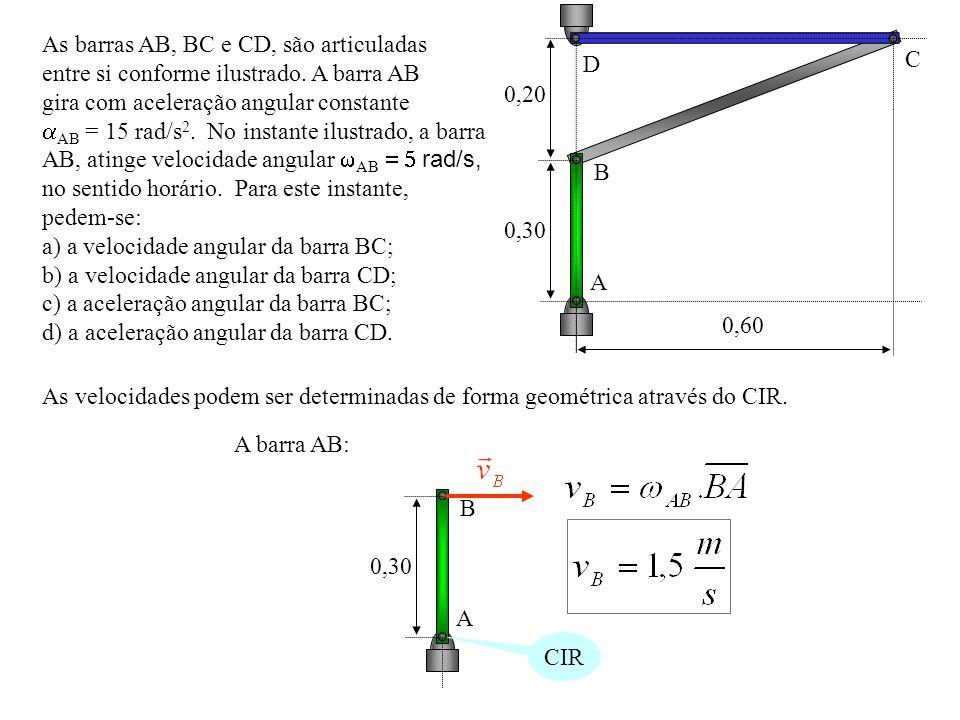 0,20 0,30. 0,60. A. B. C. D. As barras AB, BC e CD, são articuladas. entre si conforme ilustrado. A barra AB.