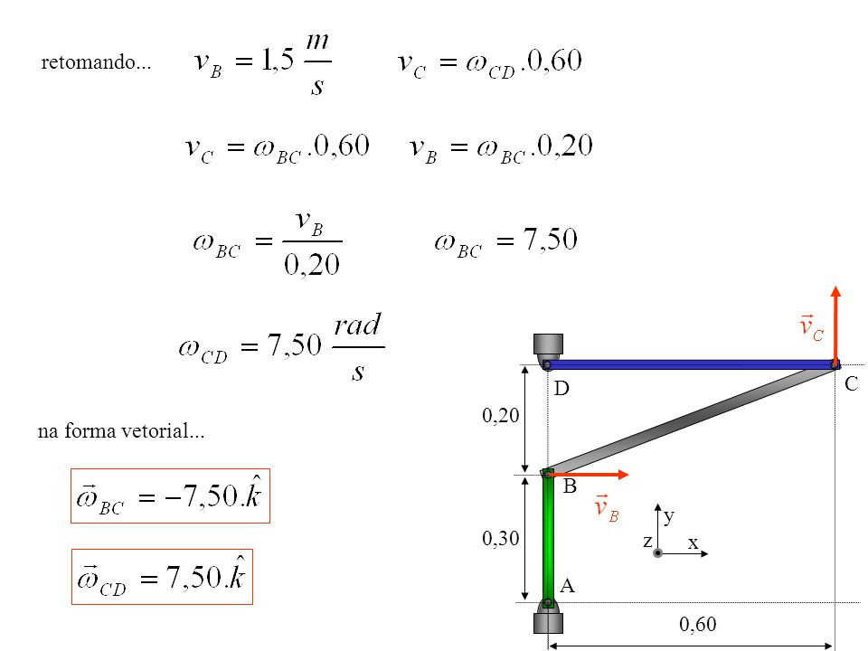 retomando... 0,20 0,30 0,60 A B C D x y z na forma vetorial...