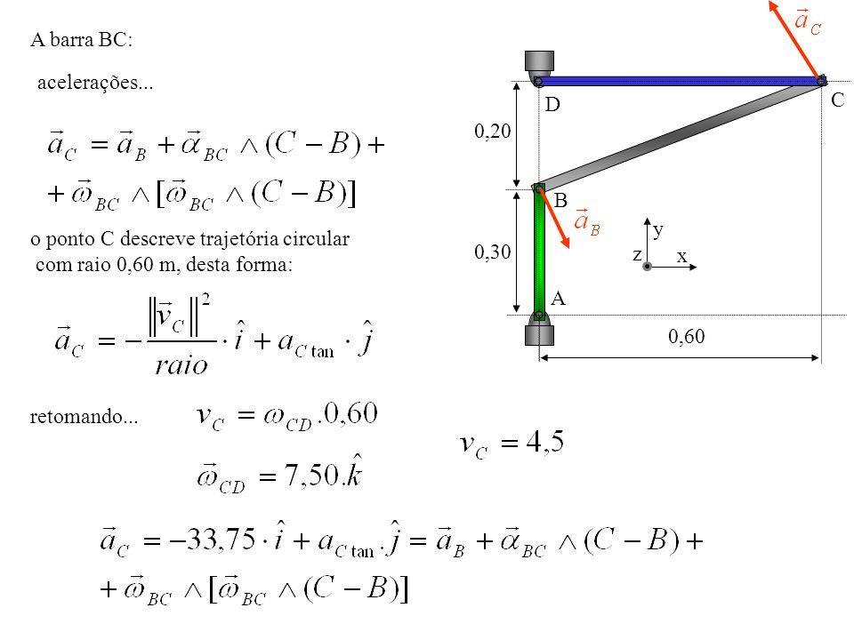 A barra BC: 0,20. 0,30. 0,60. A. B. C. D. x. y. z. acelerações... o ponto C descreve trajetória circular.