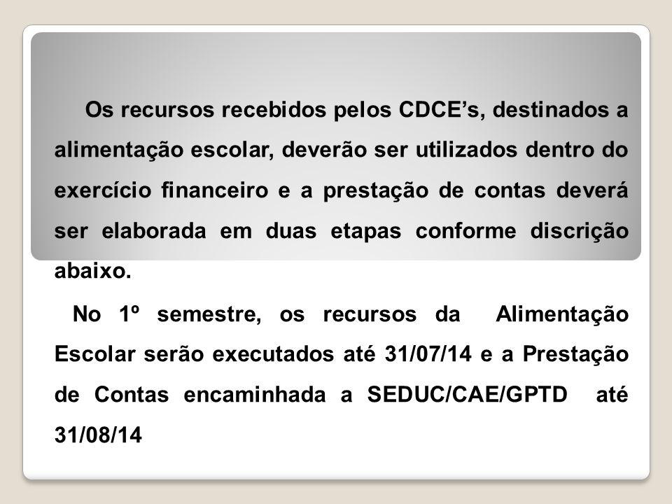 Os recursos recebidos pelos CDCE's, destinados a alimentação escolar, deverão ser utilizados dentro do exercício financeiro e a prestação de contas deverá ser elaborada em duas etapas conforme discrição abaixo.