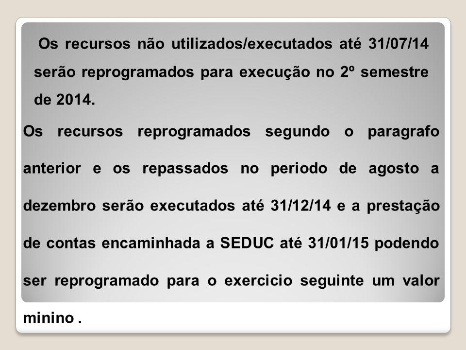 Os recursos não utilizados/executados até 31/07/14 serão reprogramados para execução no 2º semestre de 2014.
