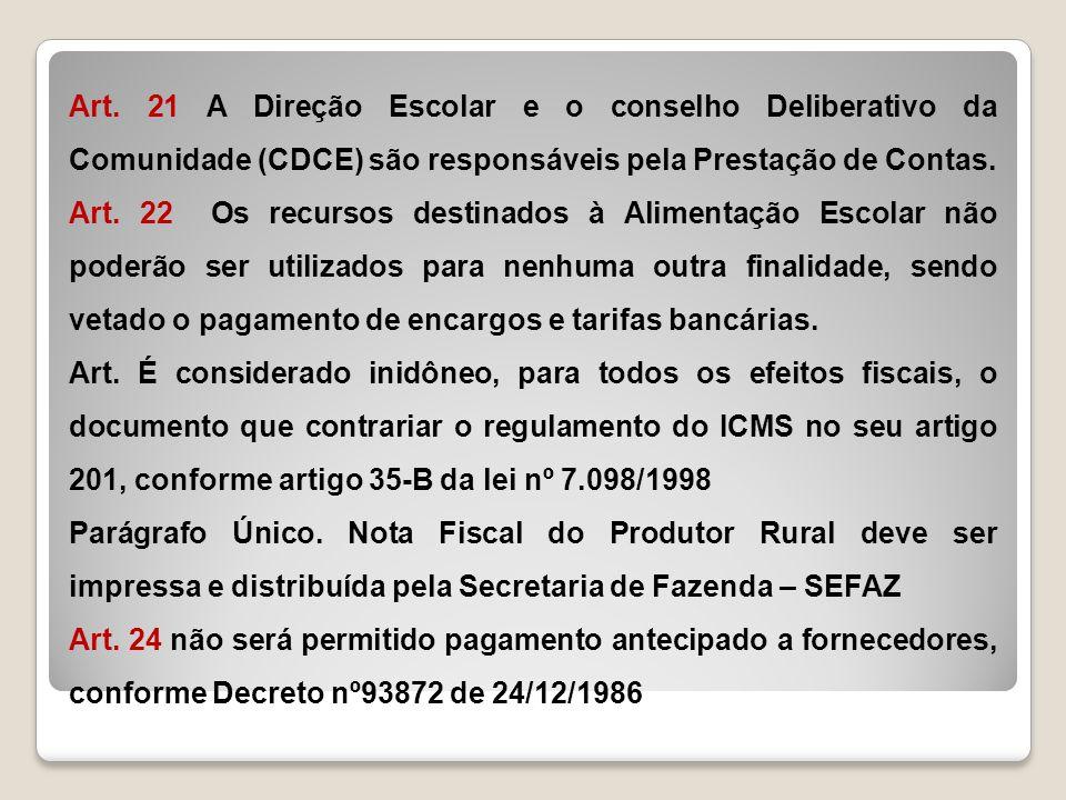 Art. 21 A Direção Escolar e o conselho Deliberativo da Comunidade (CDCE) são responsáveis pela Prestação de Contas.