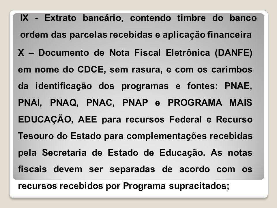 IX - Extrato bancário, contendo timbre do banco ordem das parcelas recebidas e aplicação financeira
