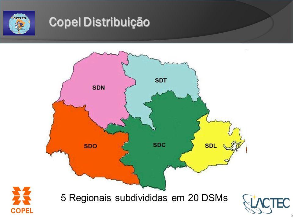 5 Regionais subdivididas em 20 DSMs