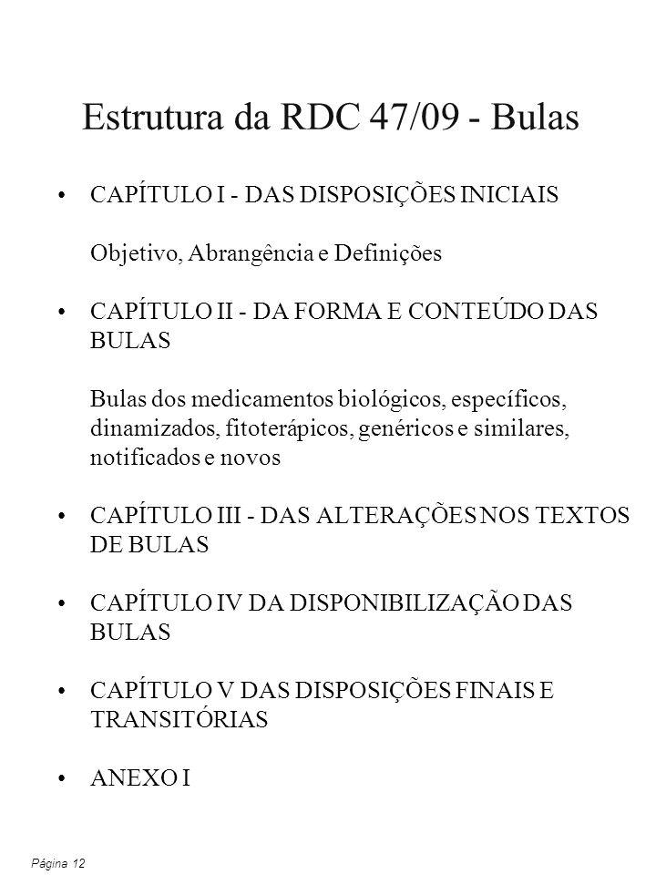 Estrutura da RDC 47/09 - Bulas