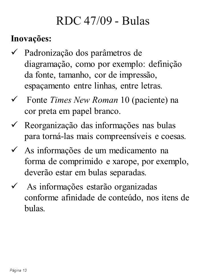 RDC 47/09 - Bulas Inovações:
