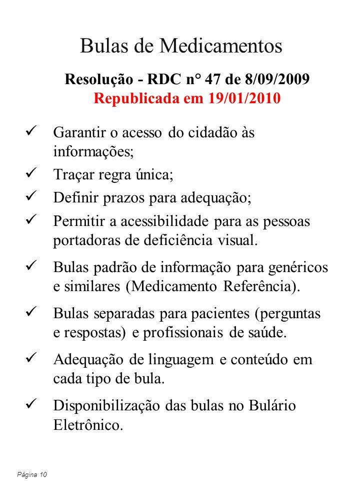 Resolução - RDC n° 47 de 8/09/2009 Republicada em 19/01/2010