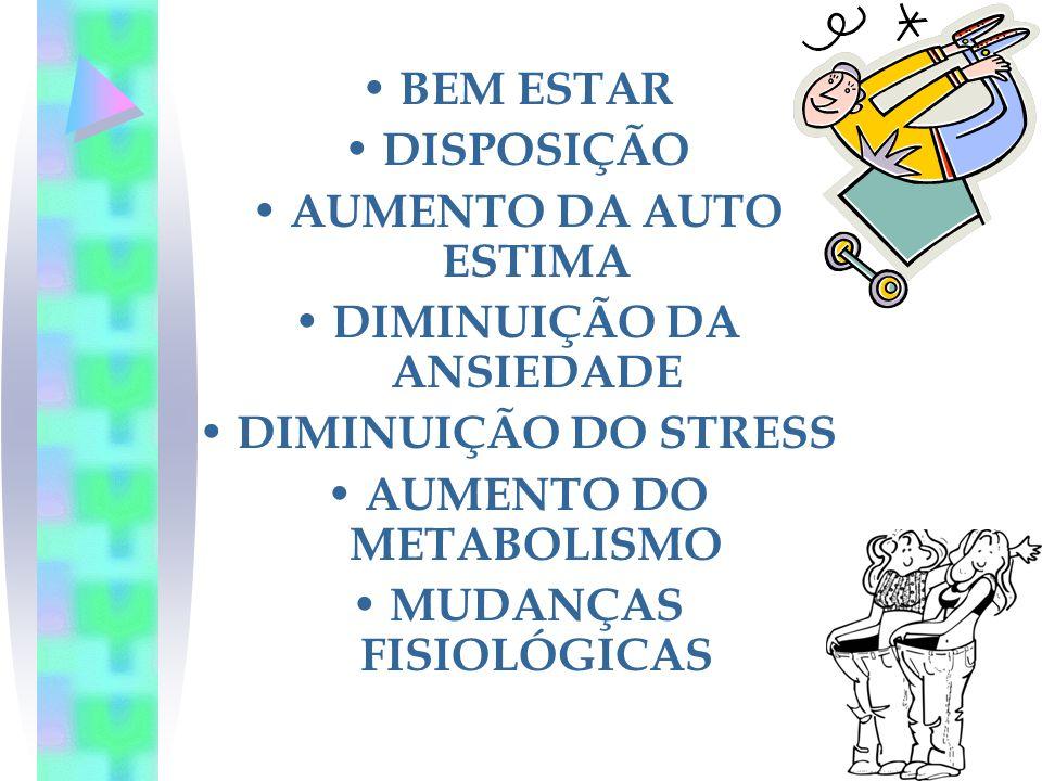 DIMINUIÇÃO DA ANSIEDADE AUMENTO DO METABOLISMO MUDANÇAS FISIOLÓGICAS