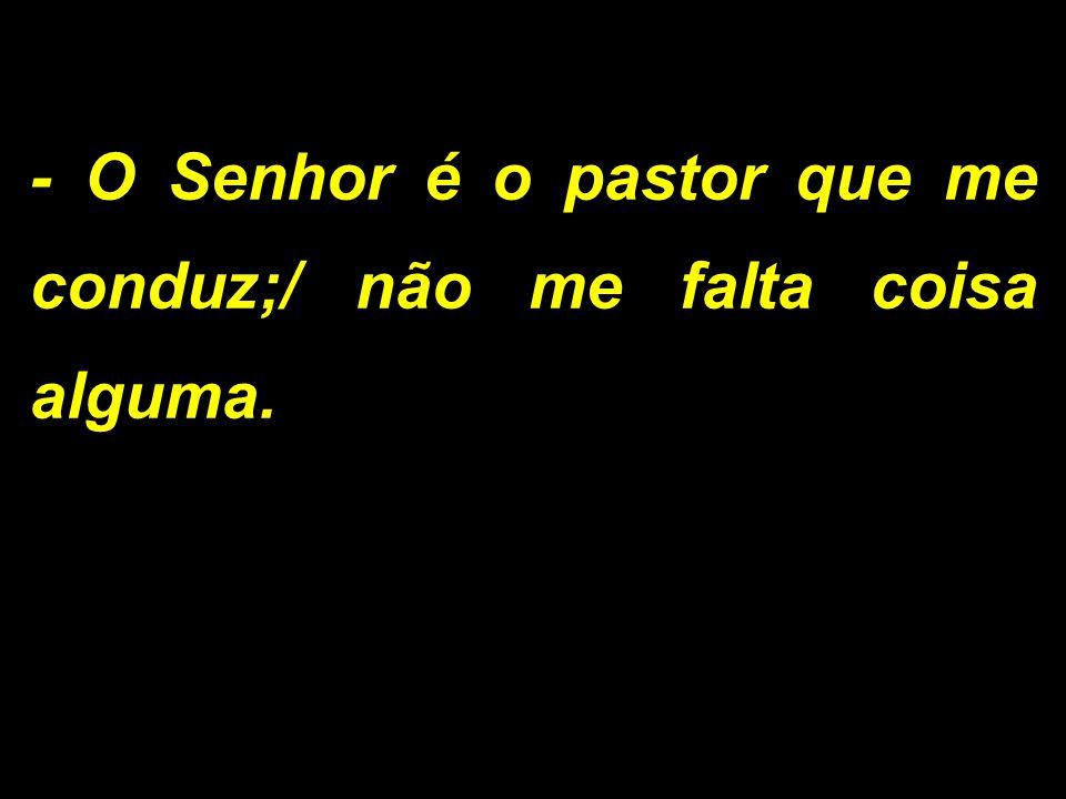 - O Senhor é o pastor que me conduz;/ não me falta coisa alguma.