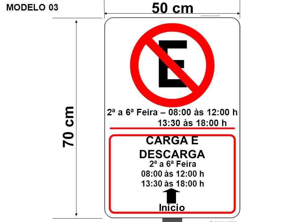 50 cm 70 cm CARGA E DESCARGA Início MODELO 03