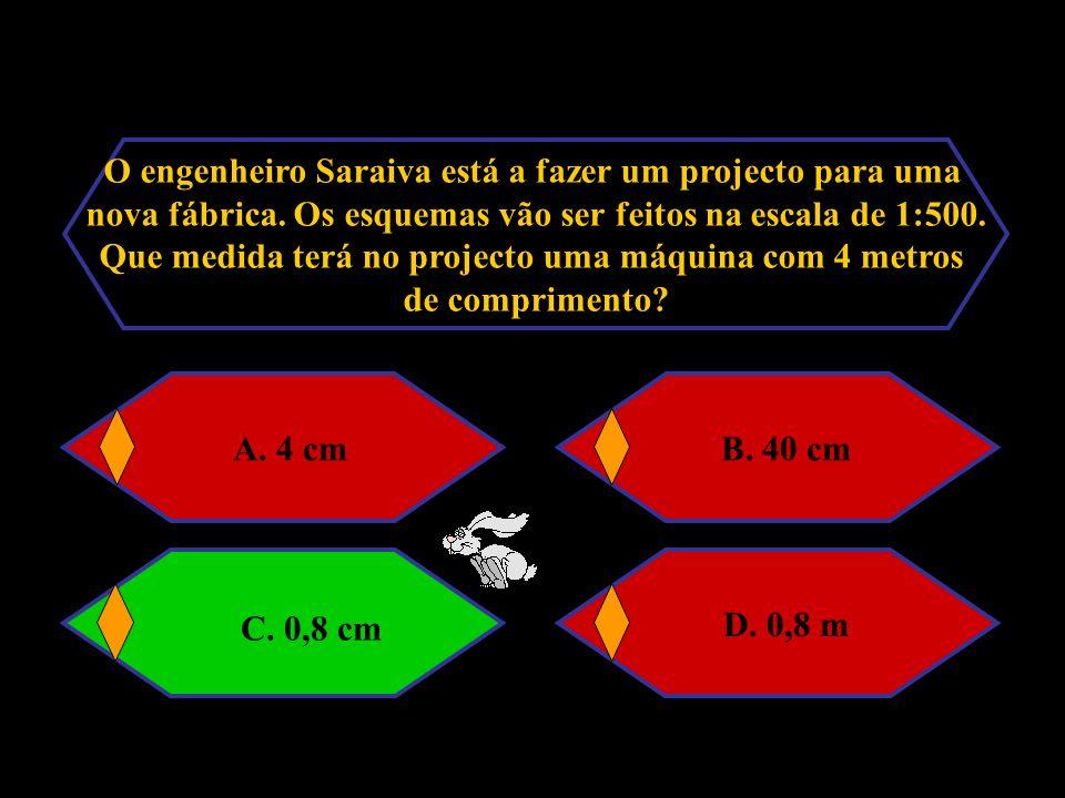 C. 0,8 cm O engenheiro Saraiva está a fazer um projecto para uma