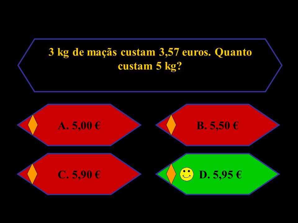 3 kg de maçãs custam 3,57 euros. Quanto