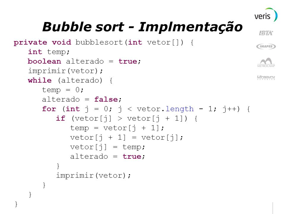 Bubble sort - Implmentação