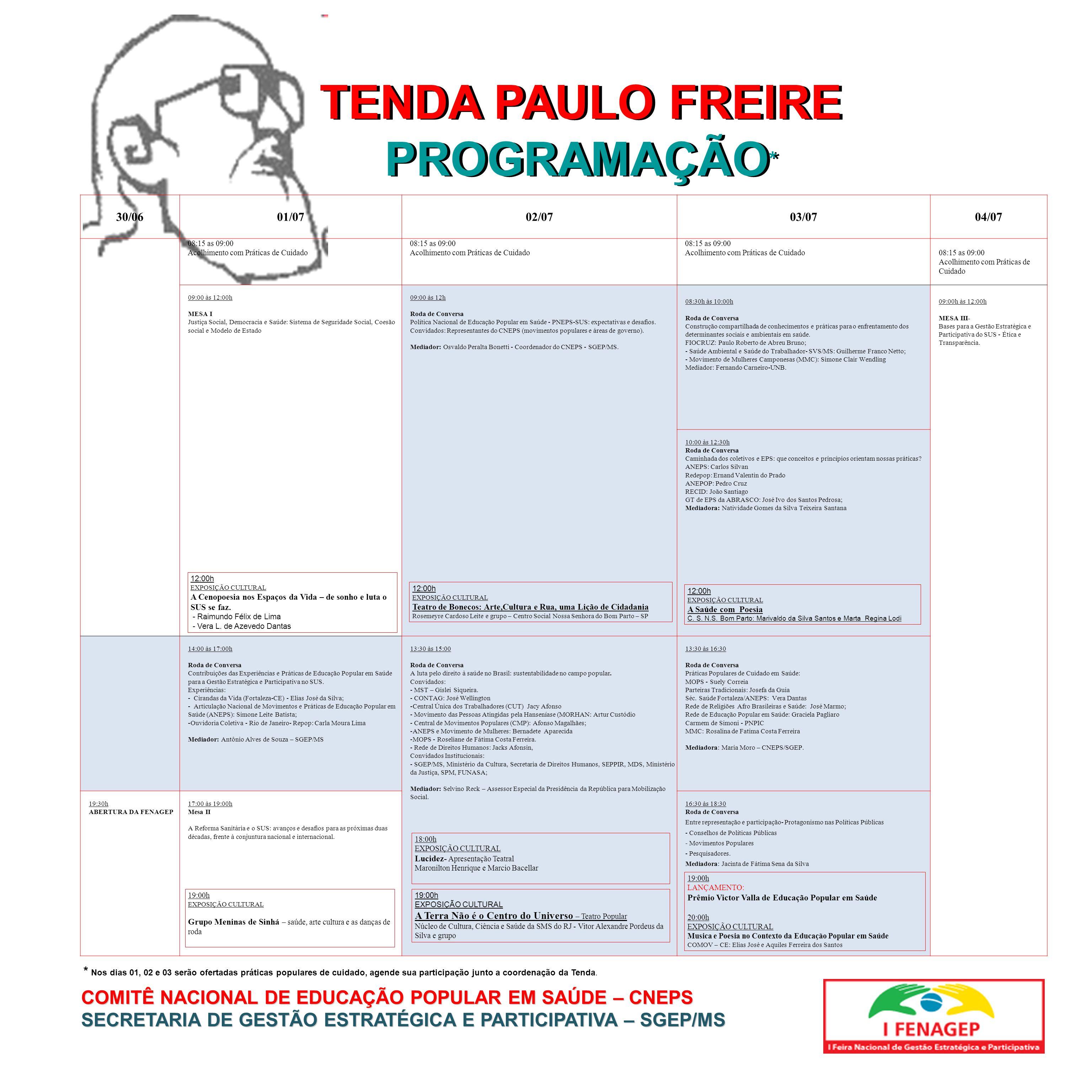 TENDA PAULO FREIRE PROGRAMAÇÃO*