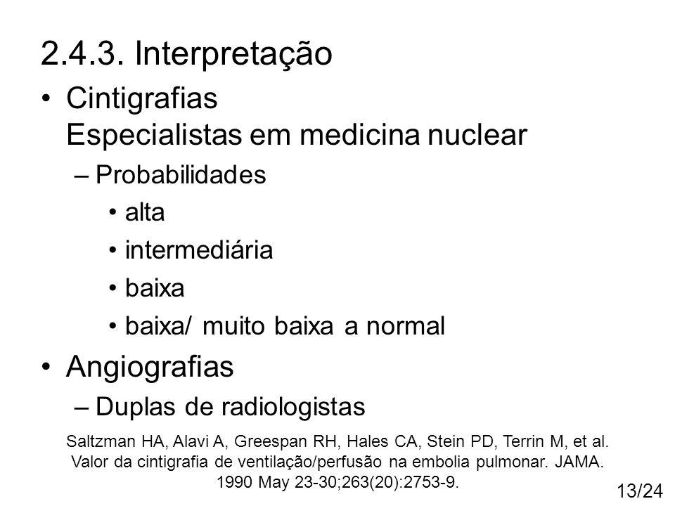 2.4.3. Interpretação Cintigrafias Especialistas em medicina nuclear