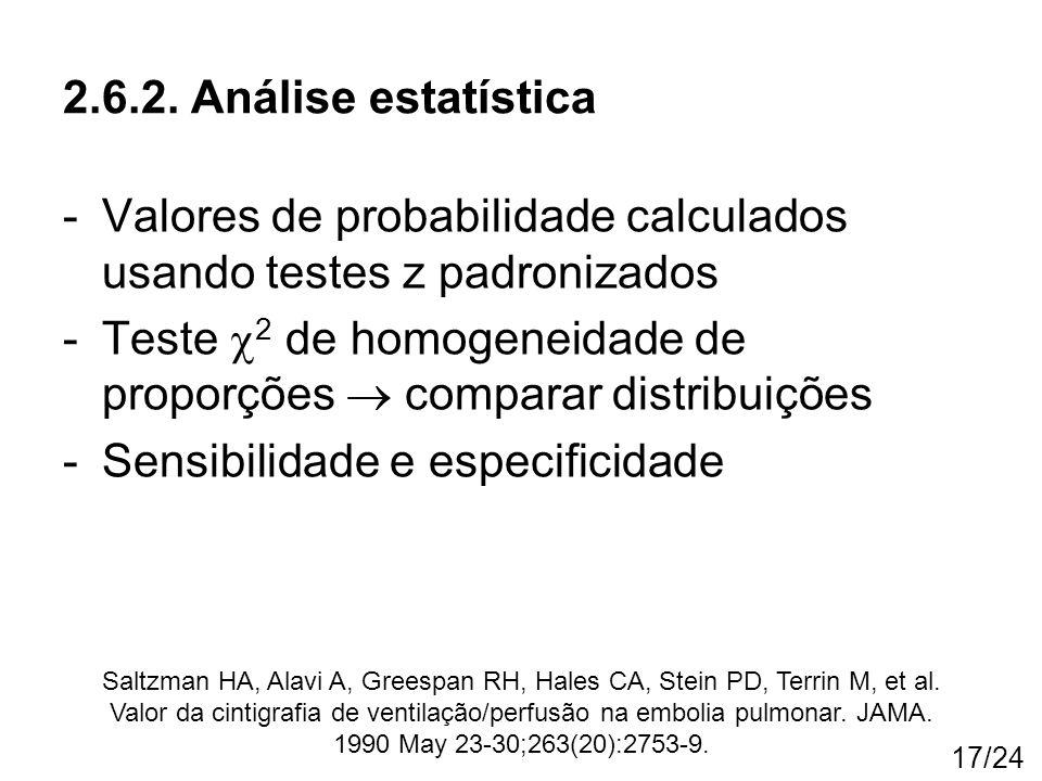 Valores de probabilidade calculados usando testes z padronizados