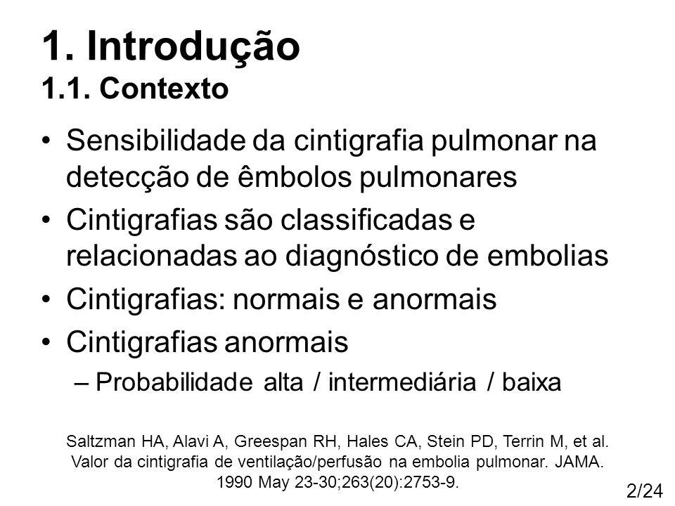 1. Introdução 1.1. Contexto Sensibilidade da cintigrafia pulmonar na detecção de êmbolos pulmonares.