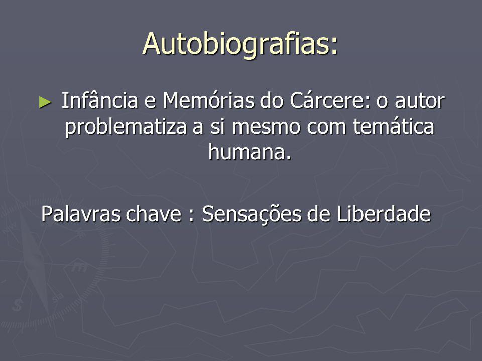 Autobiografias: Infância e Memórias do Cárcere: o autor problematiza a si mesmo com temática humana.