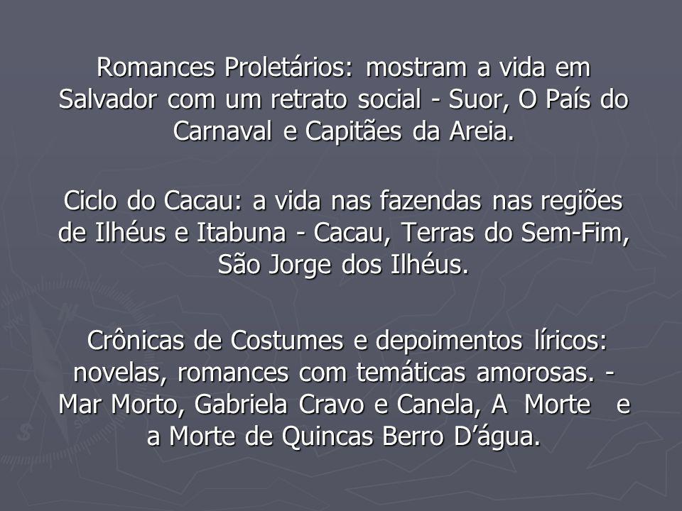 Romances Proletários: mostram a vida em Salvador com um retrato social - Suor, O País do Carnaval e Capitães da Areia.