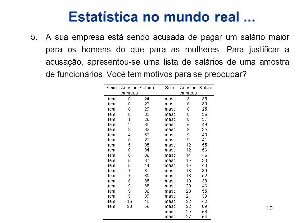 Estatística no mundo real ...