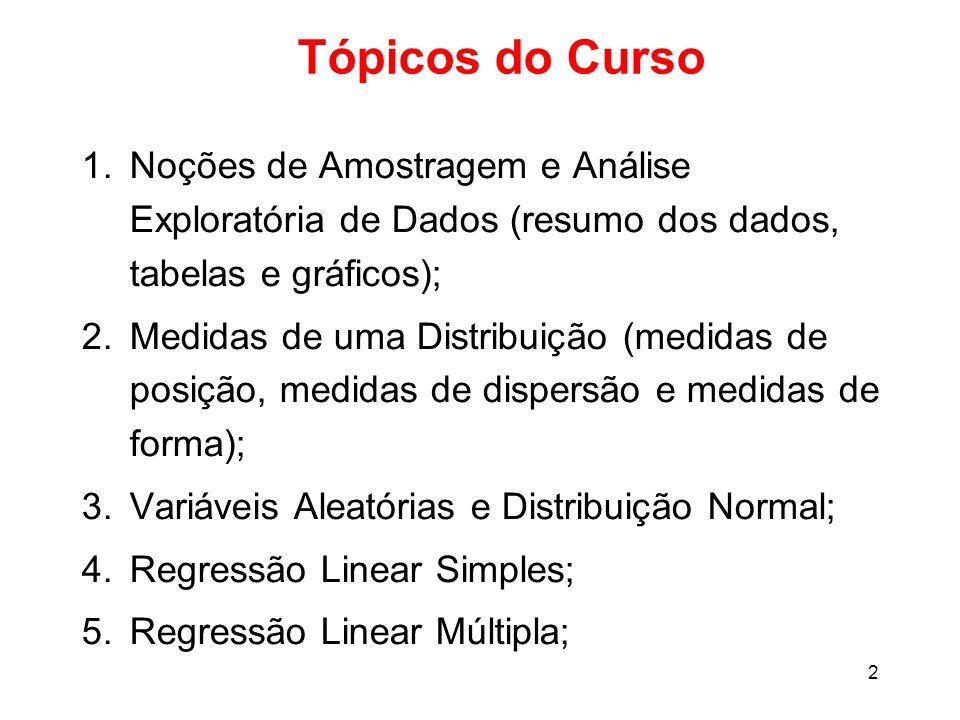 Tópicos do Curso Noções de Amostragem e Análise Exploratória de Dados (resumo dos dados, tabelas e gráficos);