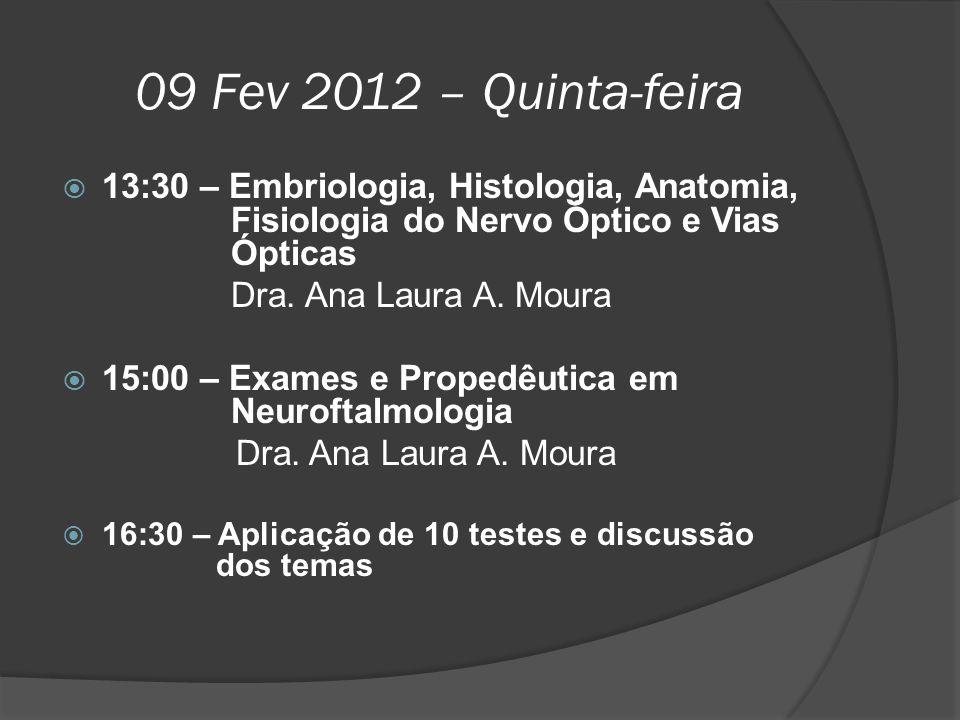 09 Fev 2012 – Quinta-feira 13:30 – Embriologia, Histologia, Anatomia, Fisiologia do Nervo Óptico e Vias Ópticas.