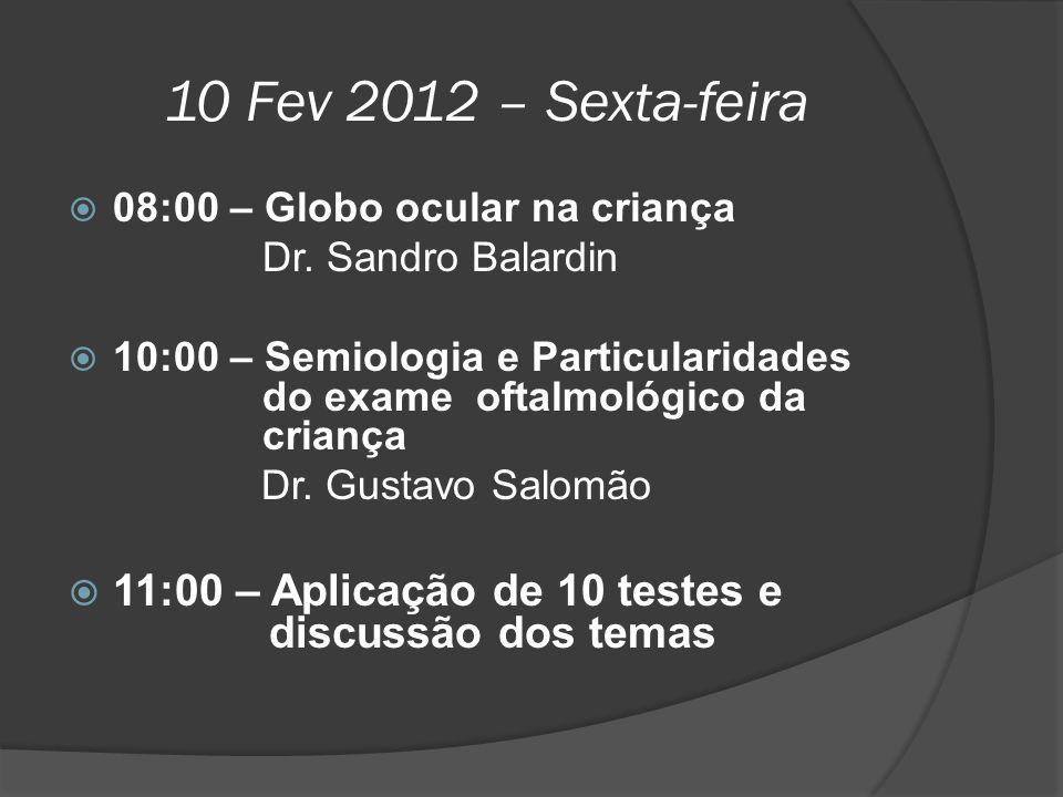 10 Fev 2012 – Sexta-feira 08:00 – Globo ocular na criança. Dr. Sandro Balardin.