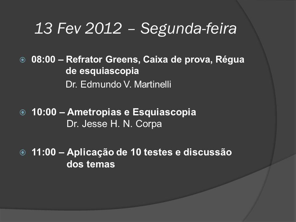 13 Fev 2012 – Segunda-feira 08:00 – Refrator Greens, Caixa de prova, Régua de esquiascopia.