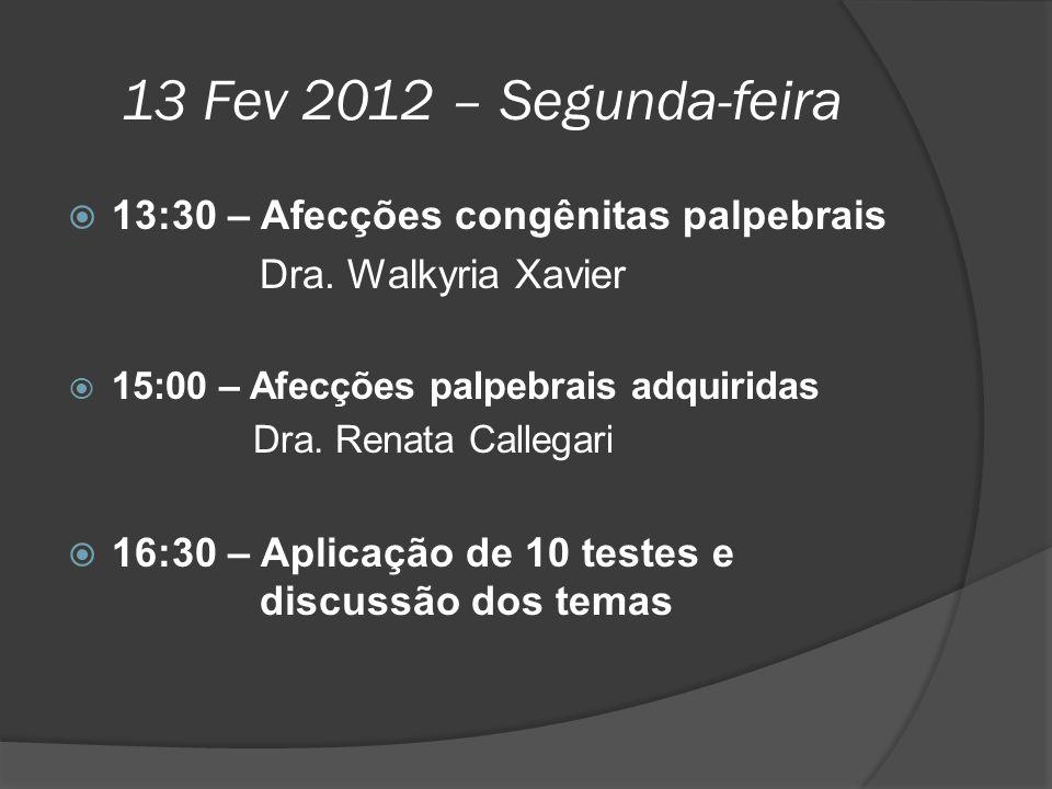 13 Fev 2012 – Segunda-feira 13:30 – Afecções congênitas palpebrais