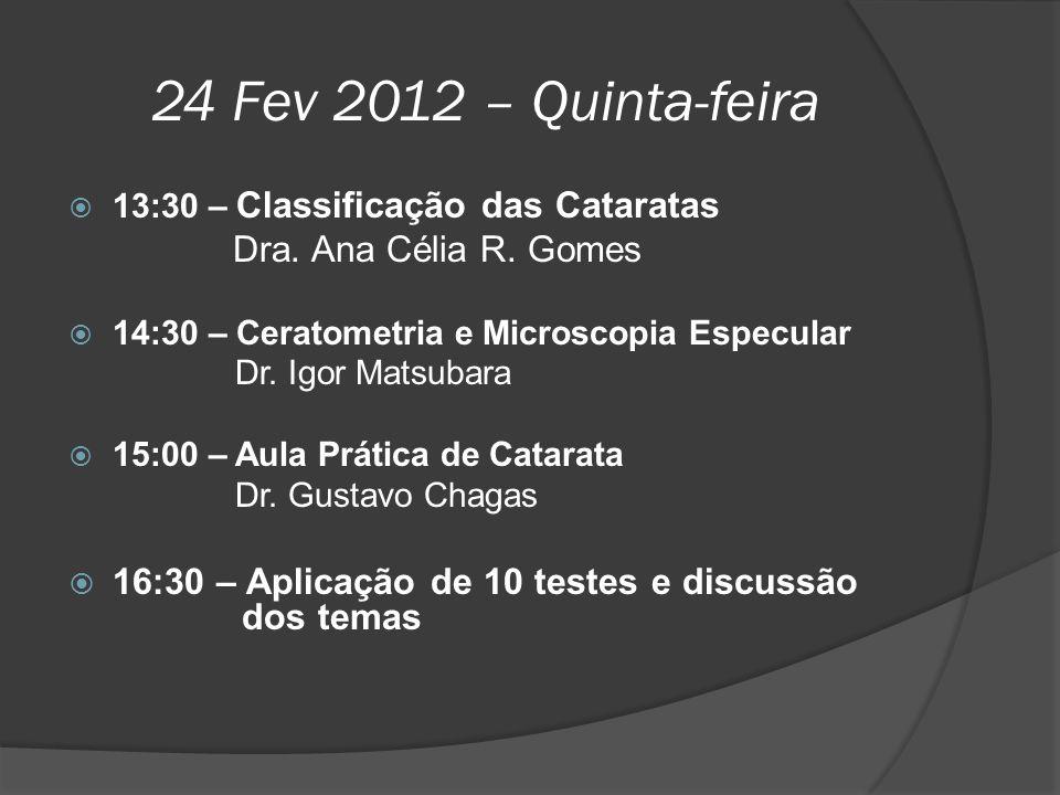 24 Fev 2012 – Quinta-feira Dra. Ana Célia R. Gomes