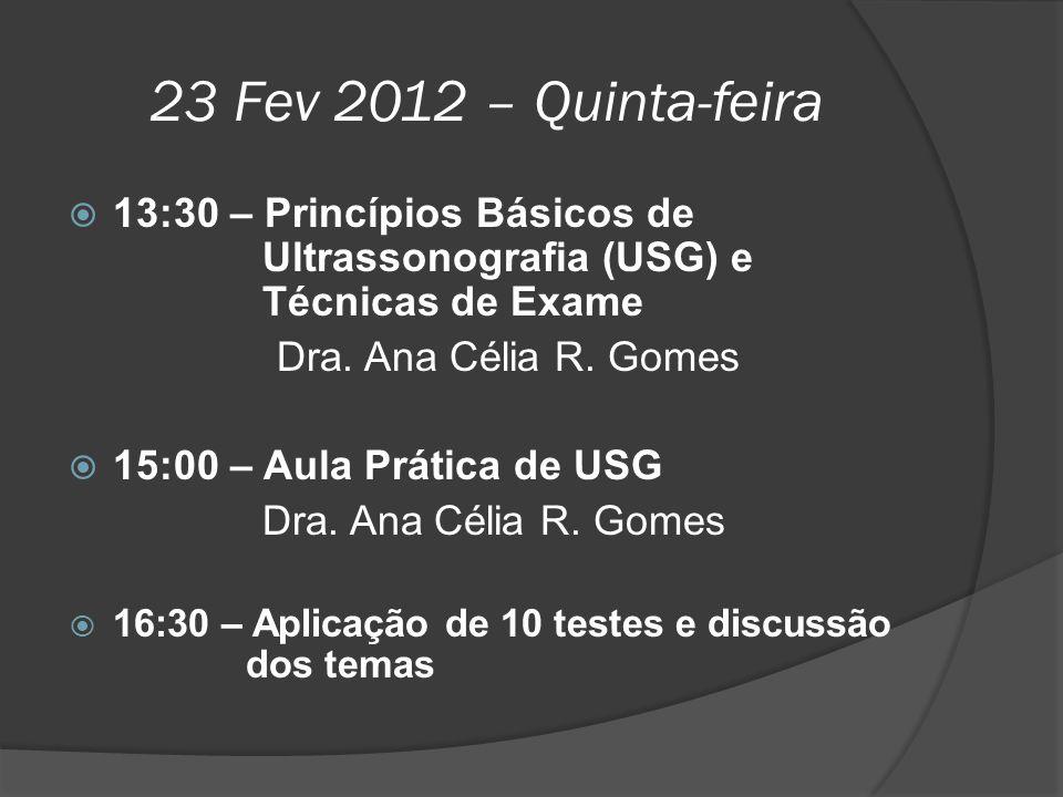 23 Fev 2012 – Quinta-feira 13:30 – Princípios Básicos de Ultrassonografia (USG) e Técnicas de Exame.