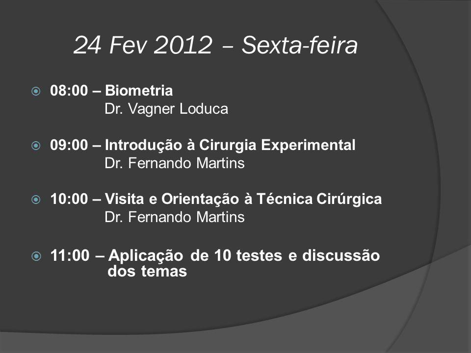 24 Fev 2012 – Sexta-feira 08:00 – Biometria. Dr. Vagner Loduca. 09:00 – Introdução à Cirurgia Experimental.