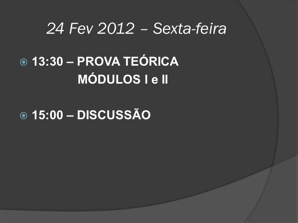 24 Fev 2012 – Sexta-feira 13:30 – PROVA TEÓRICA MÓDULOS I e II