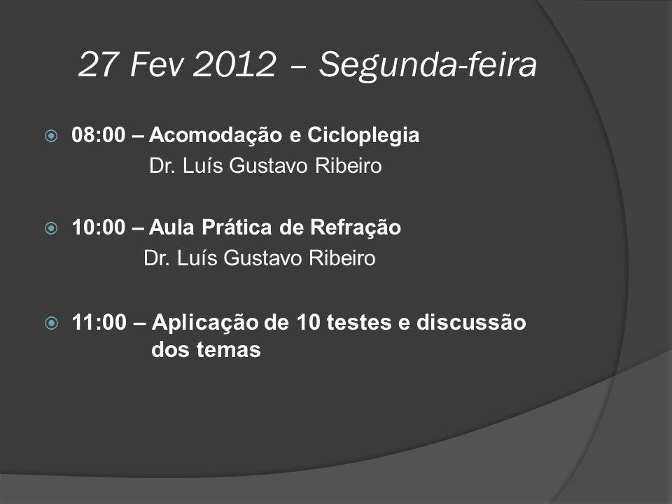 27 Fev 2012 – Segunda-feira 08:00 – Acomodação e Cicloplegia. Dr. Luís Gustavo Ribeiro. 10:00 – Aula Prática de Refração.