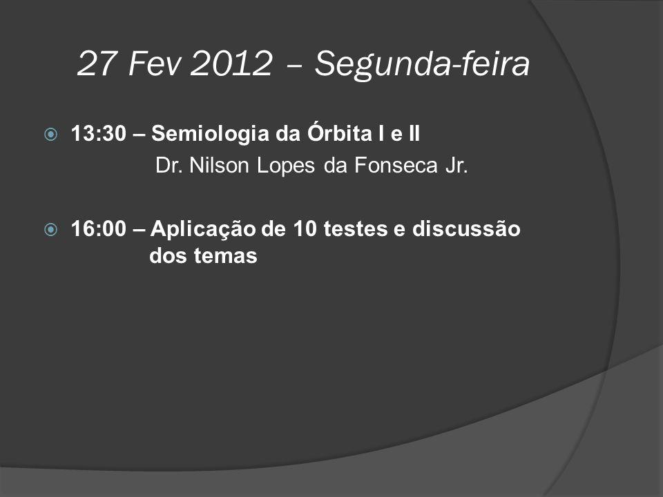 27 Fev 2012 – Segunda-feira 13:30 – Semiologia da Órbita I e II