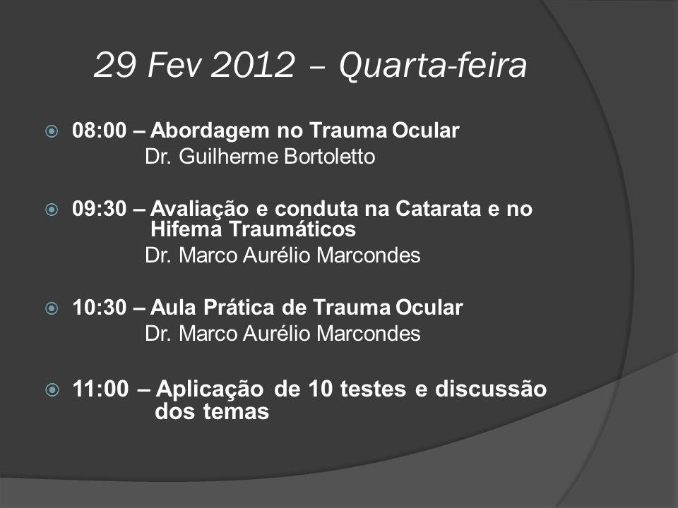 29 Fev 2012 – Quarta-feira 08:00 – Abordagem no Trauma Ocular. Dr. Guilherme Bortoletto.