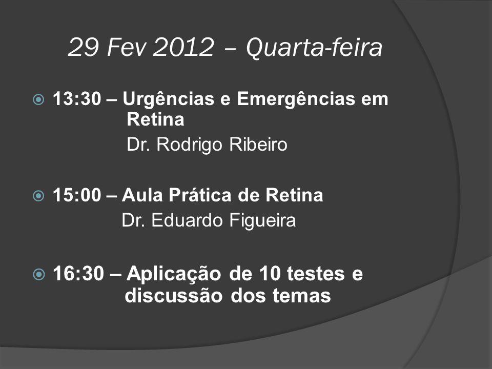 29 Fev 2012 – Quarta-feira 13:30 – Urgências e Emergências em Retina. Dr. Rodrigo Ribeiro.