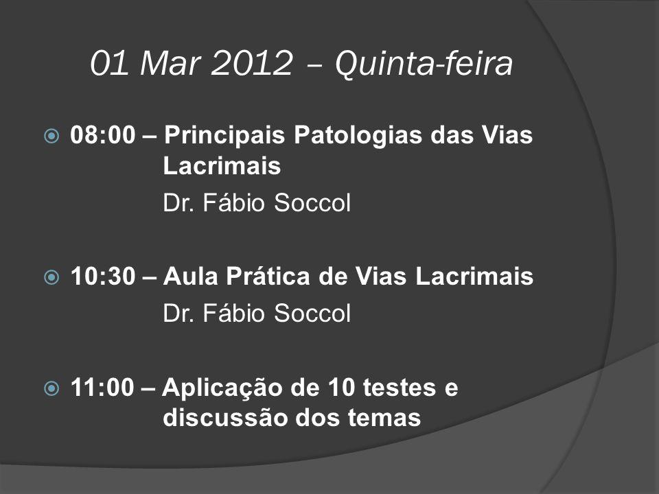 01 Mar 2012 – Quinta-feira 08:00 – Principais Patologias das Vias Lacrimais. Dr. Fábio Soccol.
