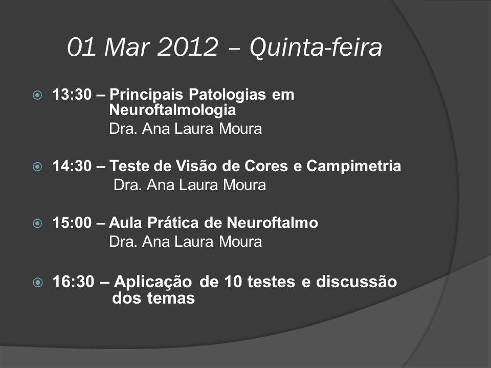 01 Mar 2012 – Quinta-feira 13:30 – Principais Patologias em Neuroftalmologia.