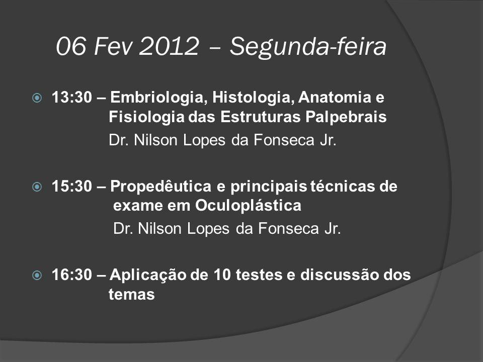 06 Fev 2012 – Segunda-feira 13:30 – Embriologia, Histologia, Anatomia e Fisiologia das Estruturas Palpebrais.